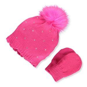 NICOLE MILLER Pink Bejeweled Beanie Mitten Set NWT